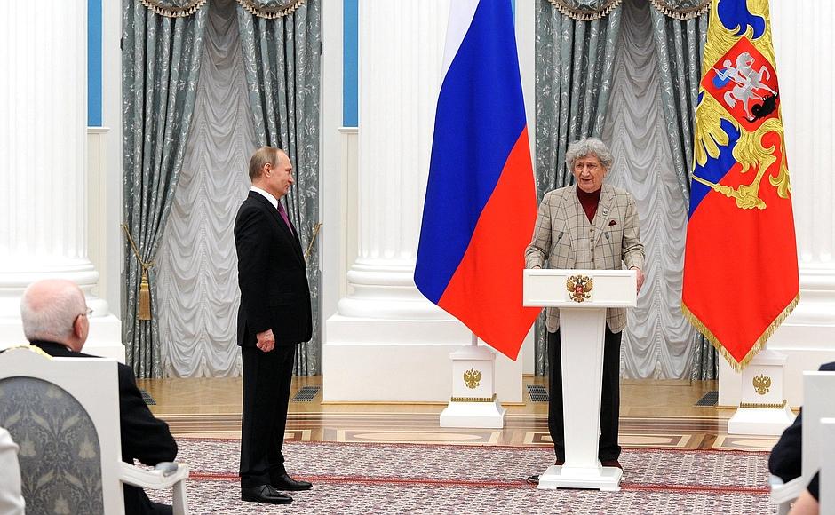 Юрий Энтин получает премию Президента. Владимир Путин. Кремль
